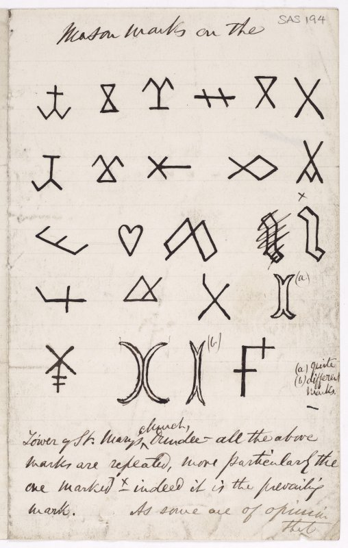 Drawing showing masons' marks from the tower of St Mary's Church, Dundee.
