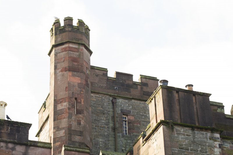 Exterior. Detail of castellated turret taken from the north.