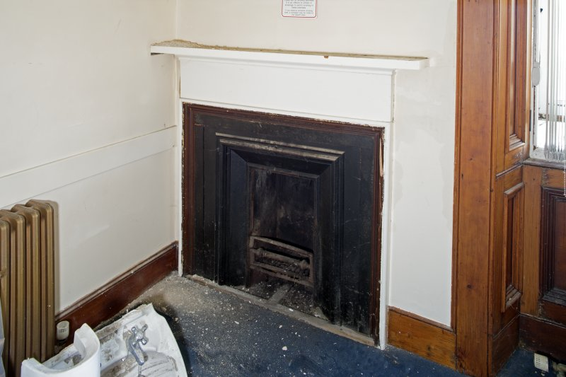 Interior. First floor. Detail of fireplace in west Witness Room.
