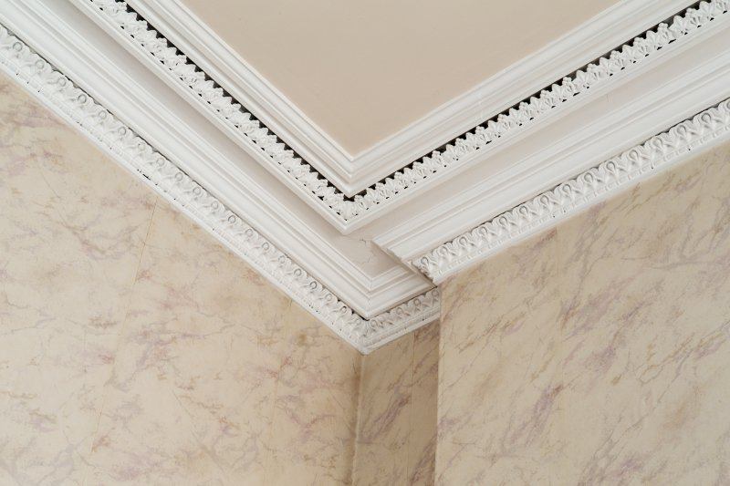 Interior. First floor. Detail of cornice in Jury room.