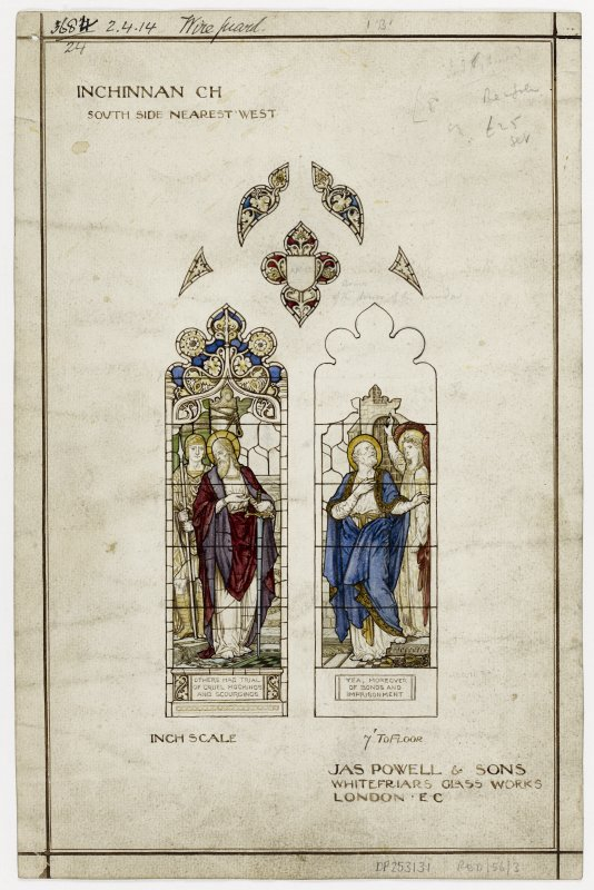 Watercolour design drawing for two stained glass windows.  Inchinnan Church