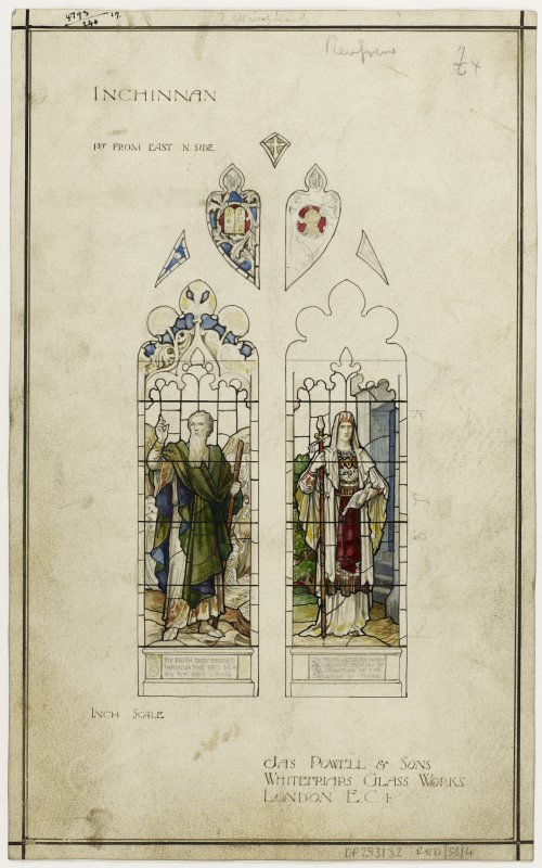 Watercolour design drawing for two stained glass windows. Inchinnan Church.