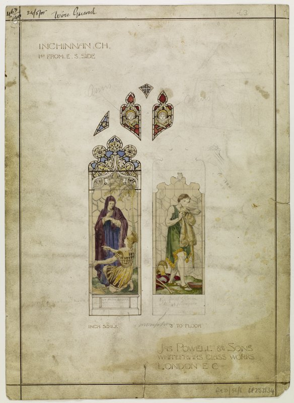 Design for stained glass window of Inchinnan Church.