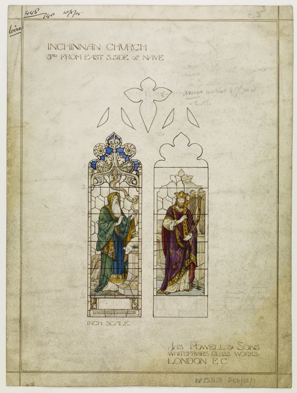 Design for stained glass window for nave of Inchinnan Church.