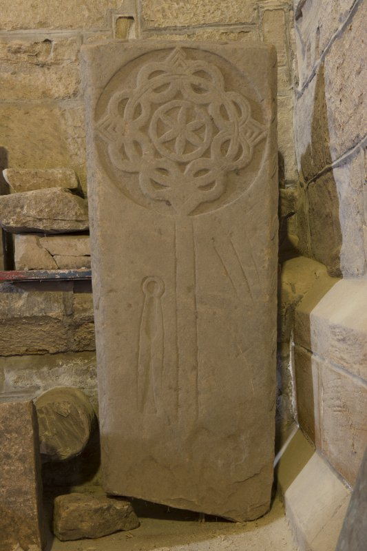 View of medieval cross slab.