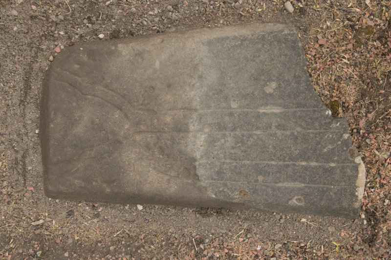 View of medieval cross slab fragment.