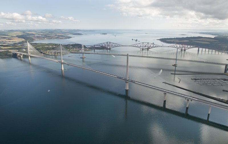 Oblique aerial view of the Queensferry Crossing on the day of the public pedestrian crossing.