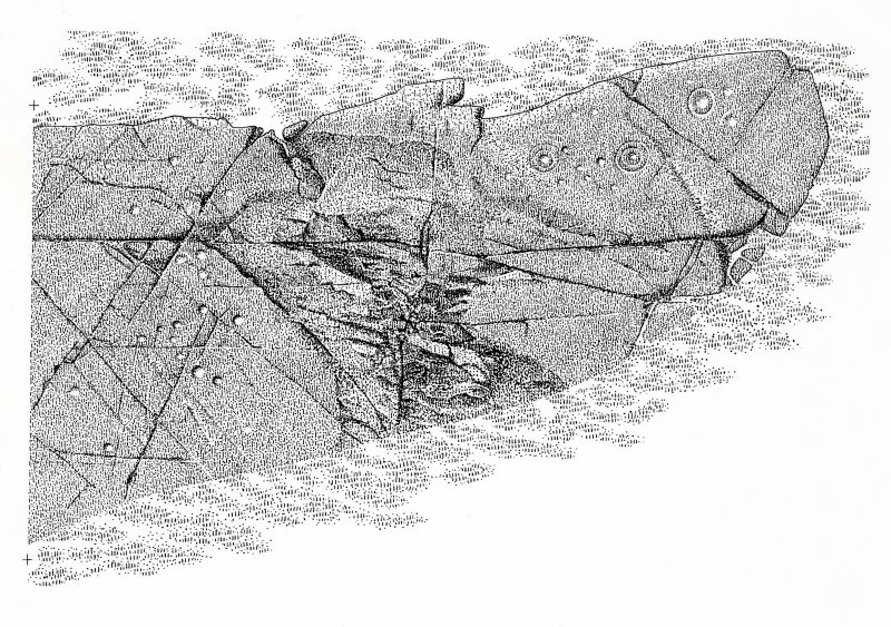 Publication drawing; cup and ring marked rock, Baluachraig 1. Photographic copy.