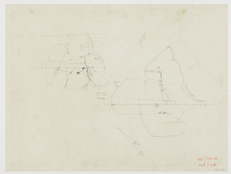 Survey drawing; cup and ring marked rocks, Baluachraig 2 and 3.