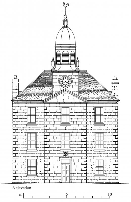 South elevation. Preparatory drawing for 'Tolbooths and Town-houses', RCAHMS, 1996. N.d.