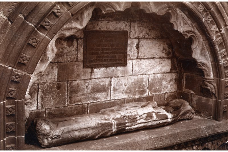 Aberdeen, Chanonry, St Machar's Cathedral. Interior-detail of recumbent effigy of unknown canon set on monument of Bishop Gavin Dunbar.