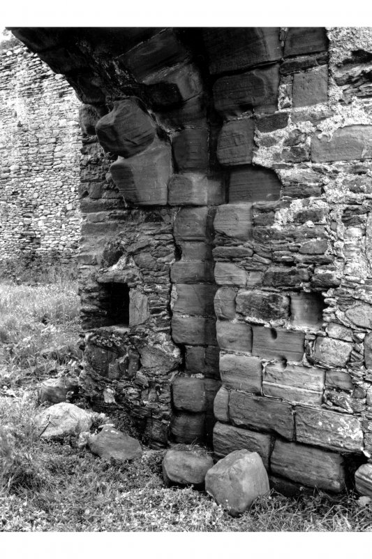 Detail of inner arches in South curtain wall of Gatehouse, showing groove for portcullis