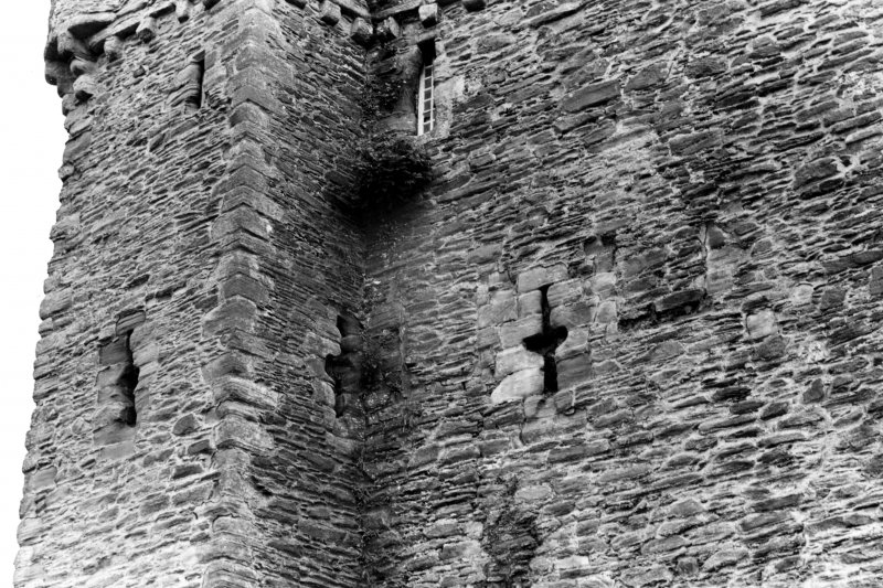 Detail of North side of Keep, showing cross slit and flanking features at second floor level