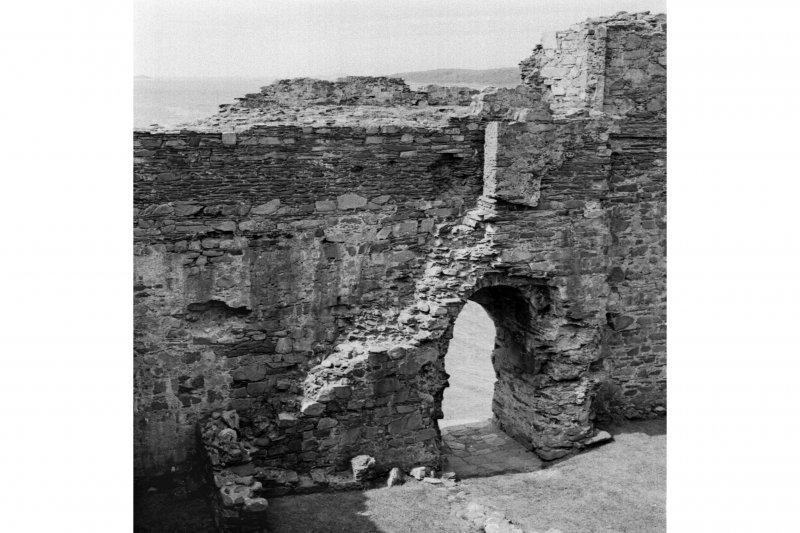 Castle Sween, interior. General view of stairway in interior of courtyard.