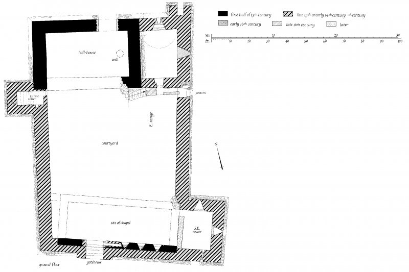 Ground Floor Plan of Skipness Castle showing building phases u.s.   u.d.