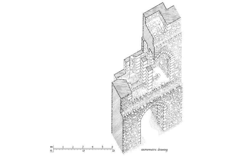 South and North Elevation, Section, Ground and First Floor Plans, and Axonometric Drawing of gatehouse at Skipness Castle u.s.   u.d.