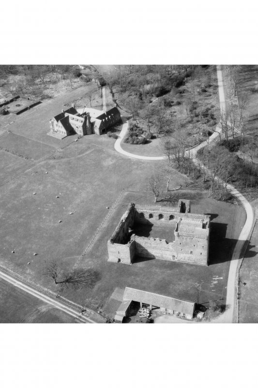 Aerial view of Skipness Castle and Skipness House, from the East.