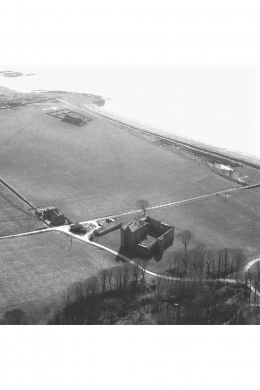 Arial view of Skipness Castle and Kilbrannan Chapel from the North West.