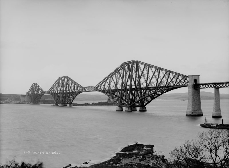 View of the bridge from the South West shore. Insc. '143 Forth Bridge.'