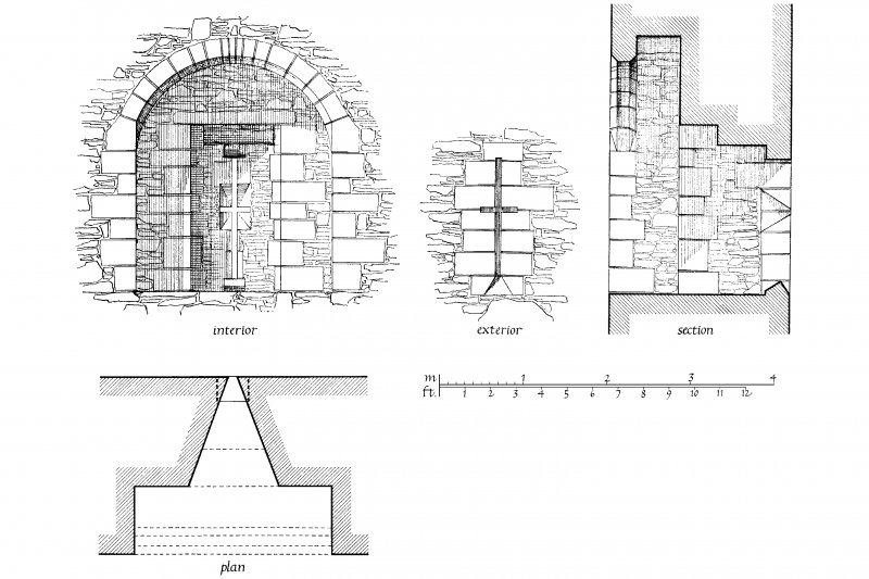 Digital image of drawing showing plan, section, interior and exterior elevations of loopholed embrasure in West Curtain at Skipness Castle.