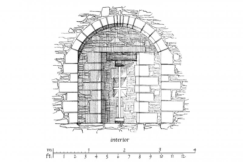 Interior elevation of loopholed embrasure in West Curtain at Skipness Castle.