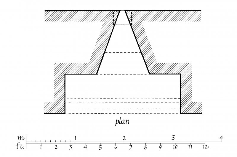Plan of loopholed embrasure in West Curtain at Skipness Castle.