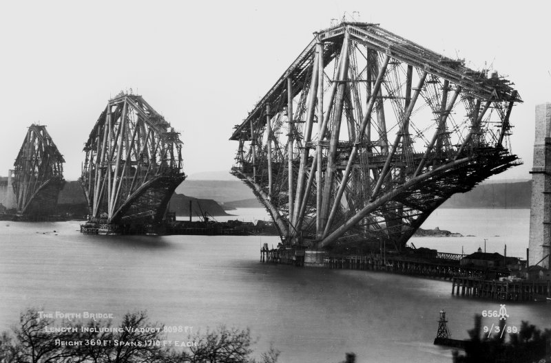 View of the Forth Bridge under construction. Insc.'The Forth Bridge. Length including Viaduct 8098 Ft. Height 369 Ft. Spans 1710 ft each. 9/3/89.  656.'
