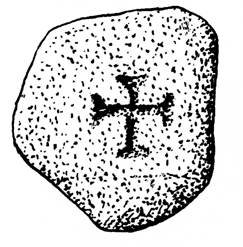 Cathedral, Cumbrae. Cross marked stone. Digital copy of DC 41403.