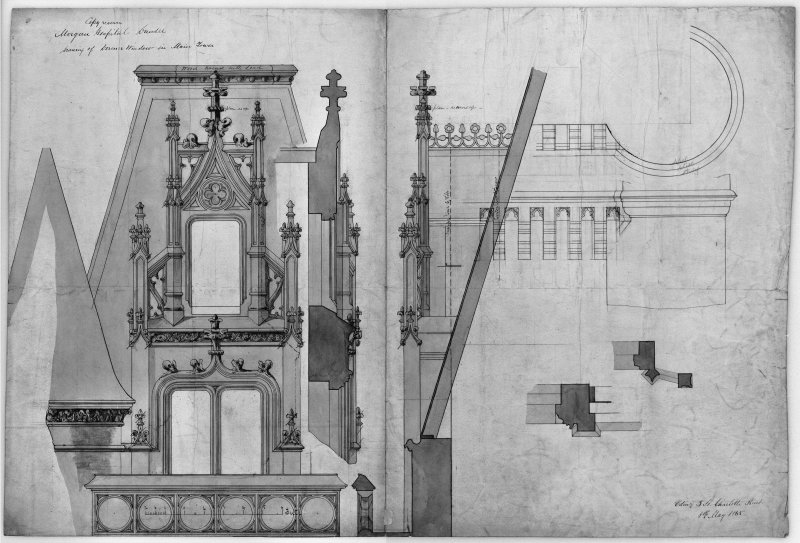 Photographic copy of details of dormer window in tower.