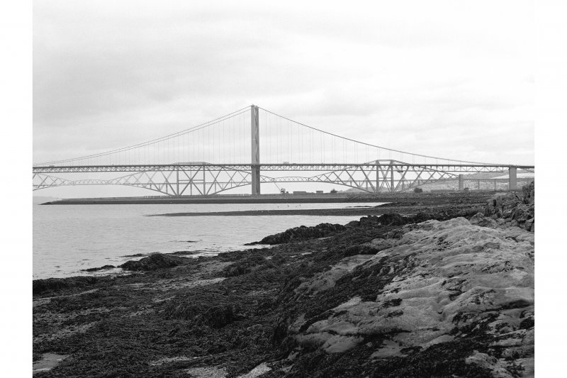 Scanned image of photograph showing Forth Road Bridge, Forth Bridge and Port Edgar, West Breakwater View from WSW