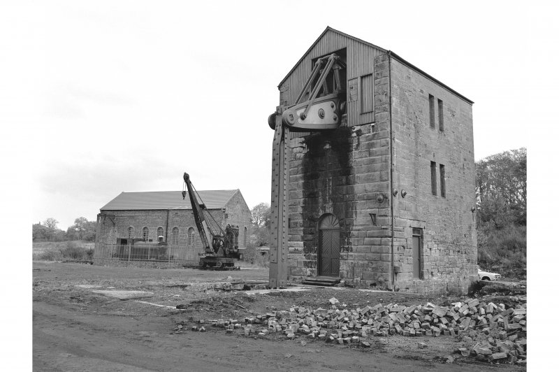 Prestongrange Colliery View from W showing steam navvy, steam engine, power station, NNW front and SW front of pumping engine