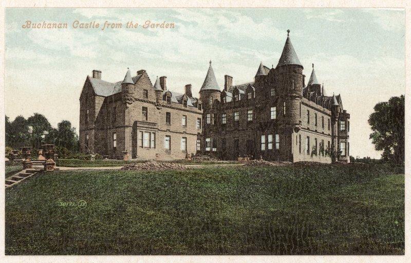 Photographic view  of Buchanan Castle (tinted postcard, Valentine) insc: 'Buchanan Castle from the Garden'