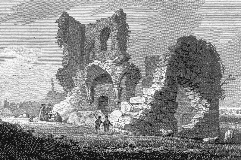 Edinburgh, Holyrood Park, St Anthony's Chapel and Hermitage Photographic copy of engraving showing view of ruins of chapel Copied from 'Views in Edinburgh and its Vicinity, Volume 2'. Insc. 'St. Anthony's Chapel. Drawn, Eng.d & Pub.d by J & HS Storer, Chapel Street, Pentonville, June 1 1819'