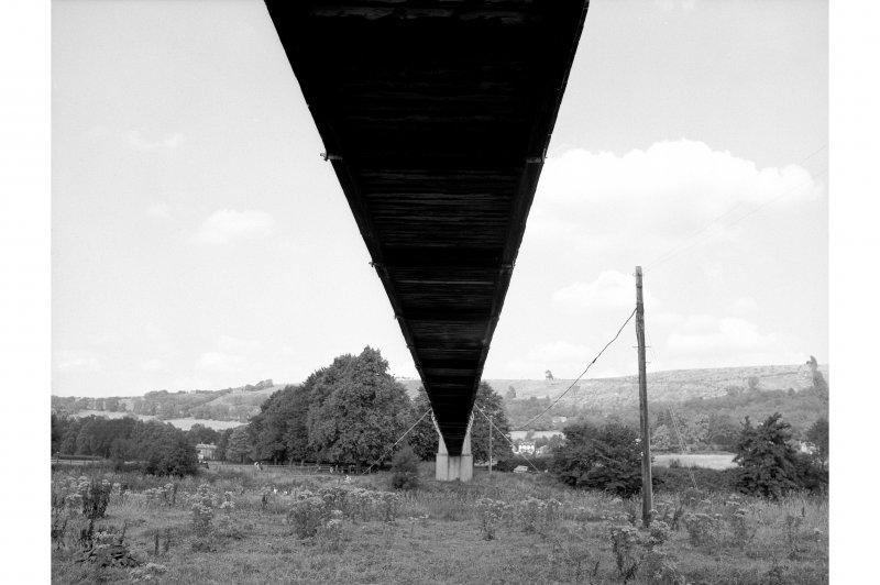 Melrose, Gattonside, Suspension Footbridge View looking NNW showing underside on N side