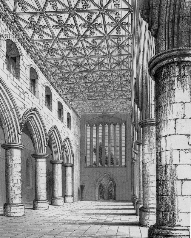 Aberdeen, Chanonry, St Machar's Cathedral Photographic copy of engraving by R W Billings showing interior of nave