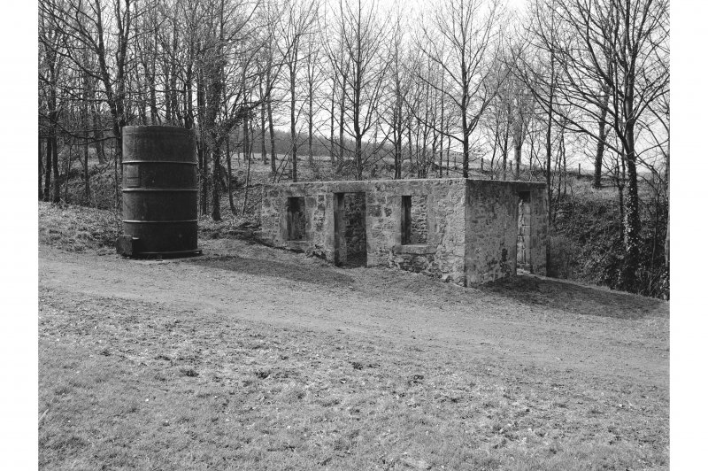 Boness, Kinneil, James Watt's Cottage View from NE showing NNW and ENE fronts of cottage with cylinder from engine in foreground