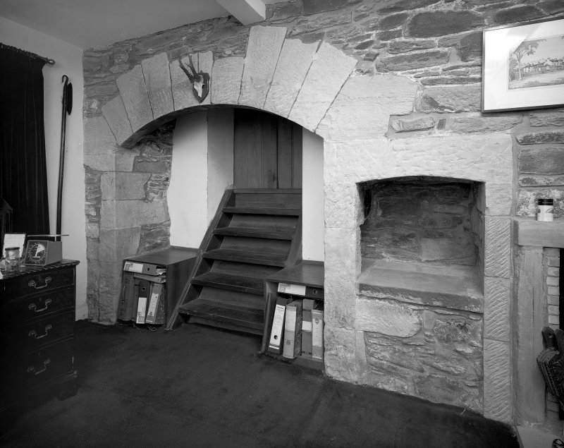 Ardlamont House, interior. View of fireplace in ground floor room of West wing.