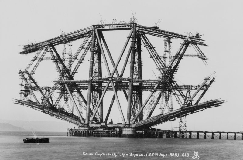 West Lothian, Forth Bridge. View of bridge under construction. Insc: 'South cantilevered Forth Bridge (23rd June 1888) 618.
