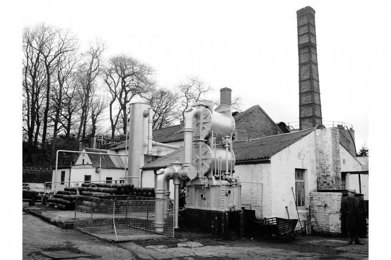 Great Cumbrae Island, Millport Gasworks General view, scrubber in foreground
