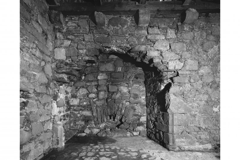 Castle Stalker, interior. View of fireplace on first floor.