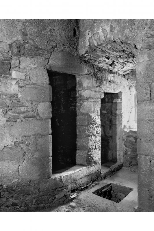 Castle Stalker, interior. View of two stair doorways and prison hatch, on first floor.
