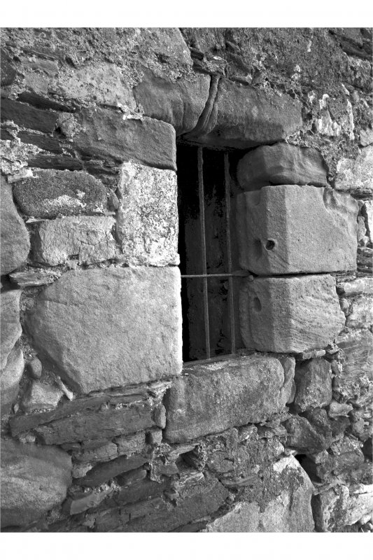 Castle Stalker. Detail of window and drain spout (North-West of stair landing) in North-East wall.