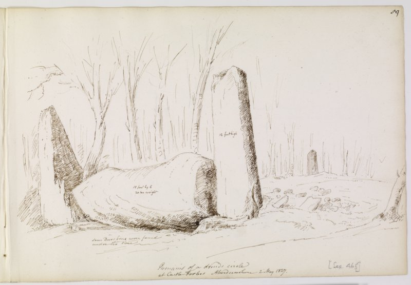 Annotated drawing of recumbent stone circle at Cothiemuir Wood. Titled: 'Remains of a druid circle at Castle Forbes, Aberdeenshire. 2 May 1827'. 'Some decay (?) bones were found under the stone'.