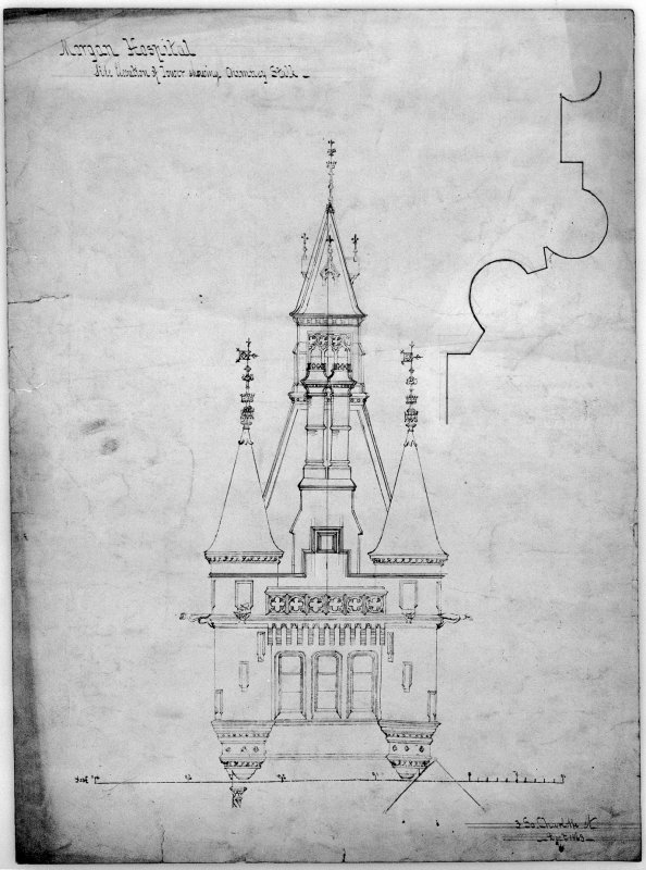 Elevation of tower. Scanned image of D 39803.