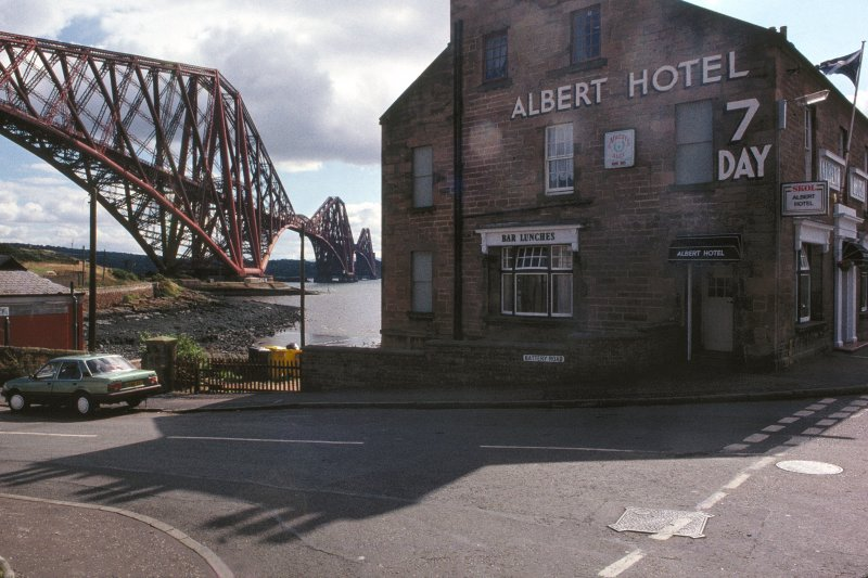 Forth Bridge:  General view of bridge from North Queensferry, with the Albert Hotel in the foreground