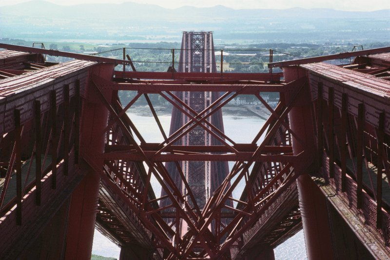 Forth Bridge:  Detailed view of top of Fife Cantilever, looking south towards central Inchgarvie Cantilever