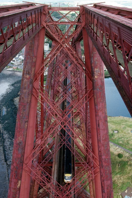 View from top of Fife Cantilever, Forth Bridge, looking down onto passing Intercity 125 passenger train