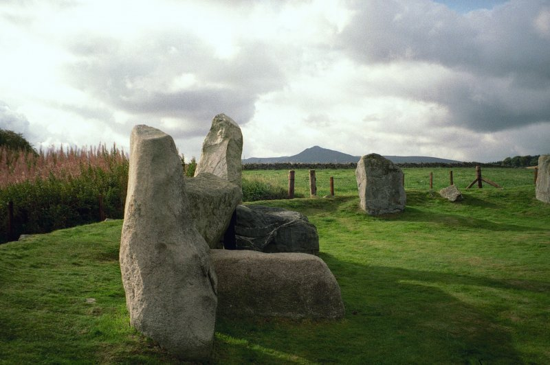 Easter Aquhorthies, view of recumbent stone circle and flankers. Digital image.