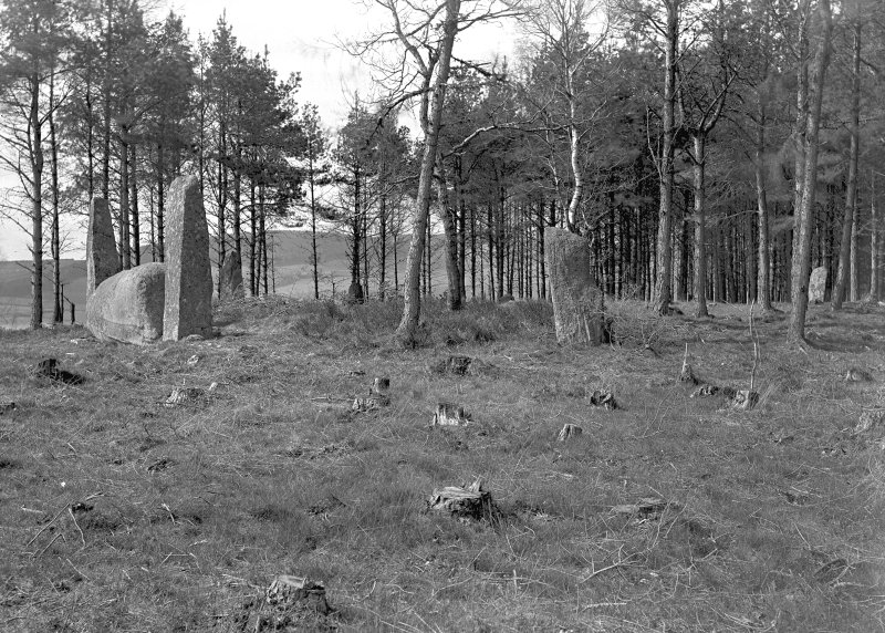 General view of circle from the south-east. Original negative captioned 'Cothiemuir Stone Circle, Keig view from South East 1908'.