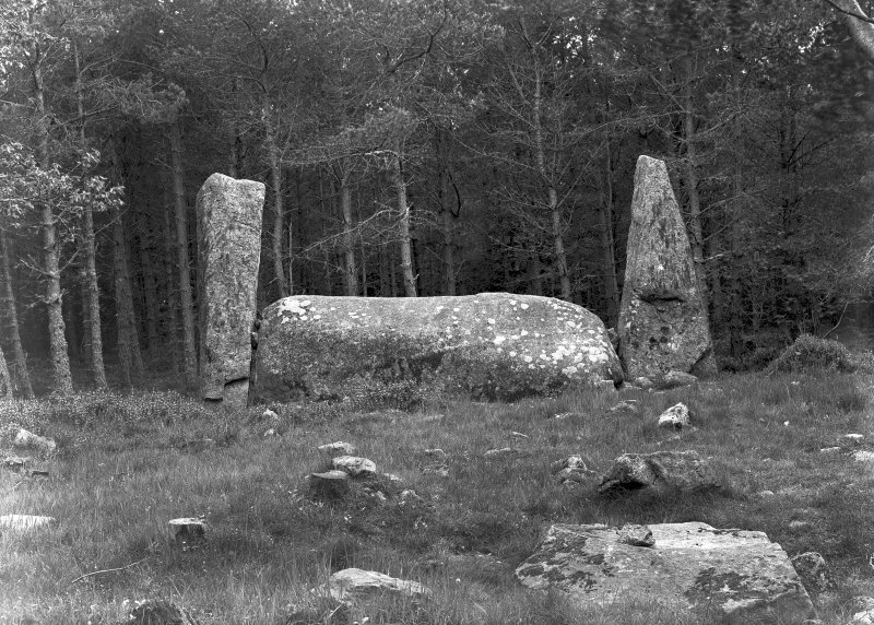 Recumbent stone and pillars, viewed from the interior of the circle and from the north.  Original negative captioned 'Cothiemuir Wood Circle, Keig, View from North. Cist in foreground June 1904'.